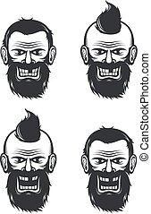 Evil face of a bearded man