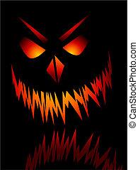 Evil face - Evil Halloween face on a black background