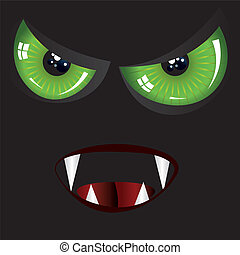 Evil face with green eyes - Danger evil face with green eyes...
