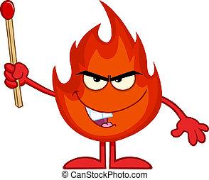 Evil Fire Holding Up A Match Stick