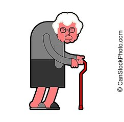 Evil Grandmother Old hag. Bad Grandma. Old lady Angry. Vector illustration