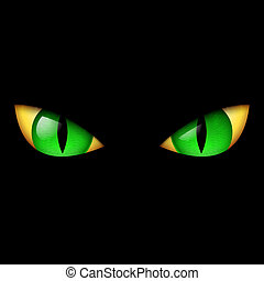 Evil Green Eye. Illustration on black background.