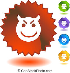 Evil Grin Emoticon - Evil grin emoticon isolated on a white ...