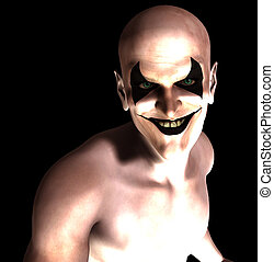 Evil Grinning Clown - An evil and sinister grinning...