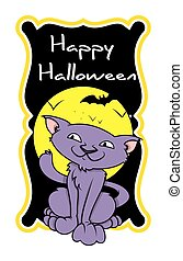 Evil Halloween Cat Greeting Banner
