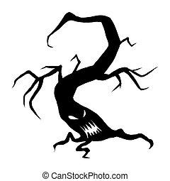 Evil halloween face tree