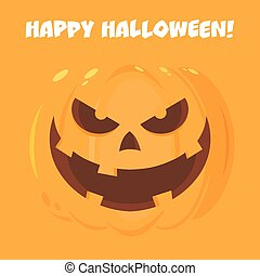 Evil Halloween Pumpkin Cartoon Emoji Face Character