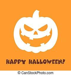Evil Halloween Pumpkin Cartoon Face Character