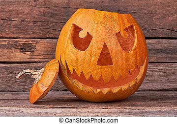 Evil Halloween pumpkin head.
