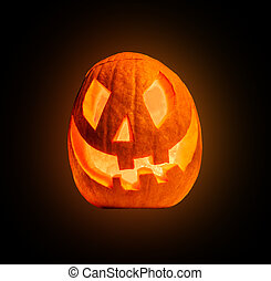 Evil halloween pumpkin, isolated on white background
