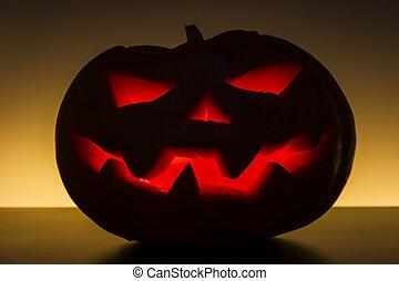 Evil Halloween Pumpkin with light inside