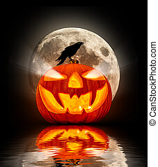 Evil halloween pumpkin with raven silhouette, reflected in water surface