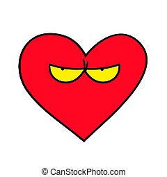 Evil heart. Vector heart with evil facial expression.
