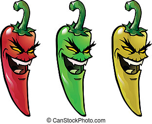 Evil hot chili peppers - Cartoon illustration of evil...