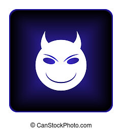 Evil icon. Internet button on white background.