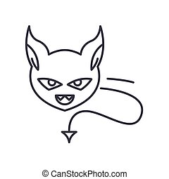 Evil icon, linear isolated illustration, thin line vector, web design sign, outline concept symbol with editable stroke on white background.