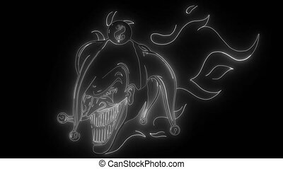 evil joker with flames digital neon video - evil joker with ...