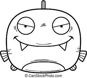 Evil Little Piranha - A cartoon illustration of an evil...