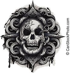 Evil Looking Skull with Twirl design, black ink & Grunge...