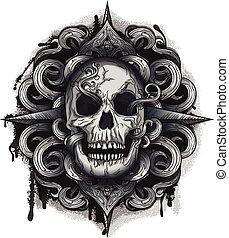 Evil Looking Skull with Twirl design, black ink & Grunge ...
