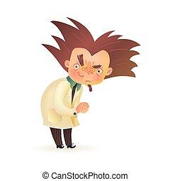 Evil mad professor with raised eyebrow in lab coat - Bushy ...