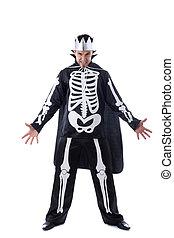 Evil man posing dressed as King of skeletons