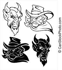 Evil Mascot Vector Character - Creative Abstract Design Art...