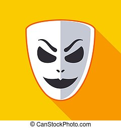 evil mask with a smile on a yellow background. flat vector illustration.