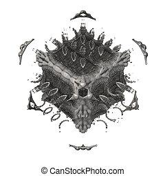 Evil necromancer (sorcere) dice (cube), alien artefact or ...
