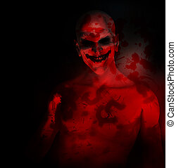 An evil psychotic clown covered in blood.