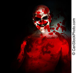 Evil On My Mind - An evil psychotic clown covered in blood.