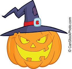 Evil Pumpkin With A Witch Hat