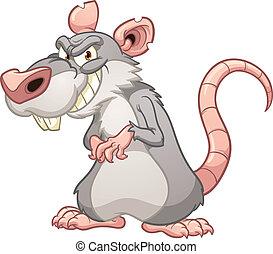 Evil rat - Evil cartoon rat. Vector clip art illustration...