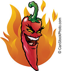 Cartoon illustration of an evil looking red hot chili pepper.