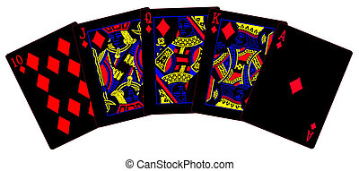 A royal flush with negative colours isolated on a white background