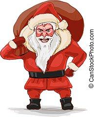 Evil santa claus, vector illustration.