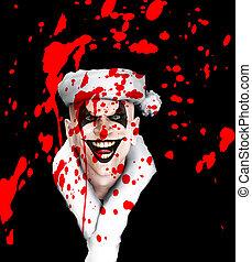 Evil Santa Clown With Blood - Evil clown Santa covered in...