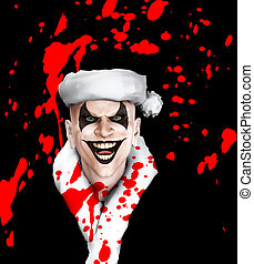 Evil Santa Clown With Blood