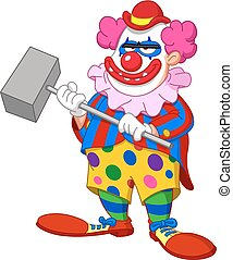 evil scary clown - Evil scary clown holding a hammer