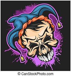 Evil scary clown. Halloween monster, joker character. Vector illustration