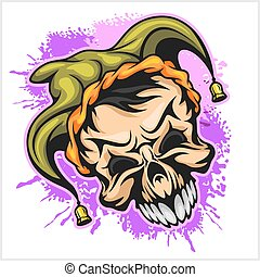 Evil scary clown. Halloween monster, joker character. Vector...