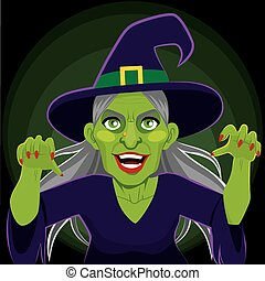 Evil Scary Witch Dark Background