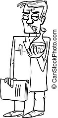 Black and White Cartoon Illustration of Funny Evil Scientist with Substance in Vial for Coloring Book