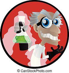 evil scientist cartoon with a beaker