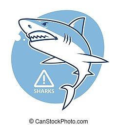Evil shark warning sign
