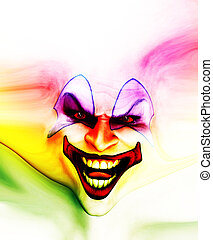 Evil Skin Face Clown - Very evil looking clown face on...