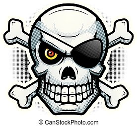 Evil Skull and Crossbones Illustration