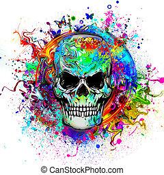 Evil skull art abstract illustration