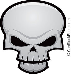 Evil Skull - Cartoon vector illustration of an evil, ...