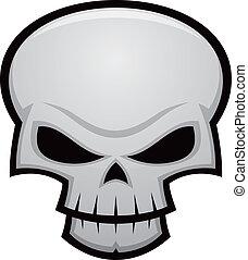 Evil Skull - Cartoon vector illustration of an evil, ...